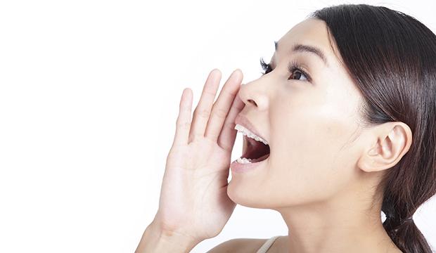 Yelling woman mouth closeup